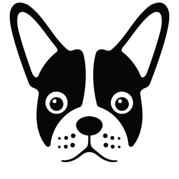 Drool Pet Co Logo lined illustration black and white french bulldog