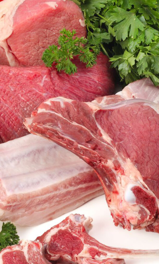 Photograph of fine cuts of meat with herbs raw dog food