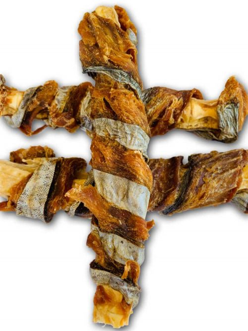 Drool Pet Co. photograph of 3 Fish Twisters dog treats stacked on top of each other