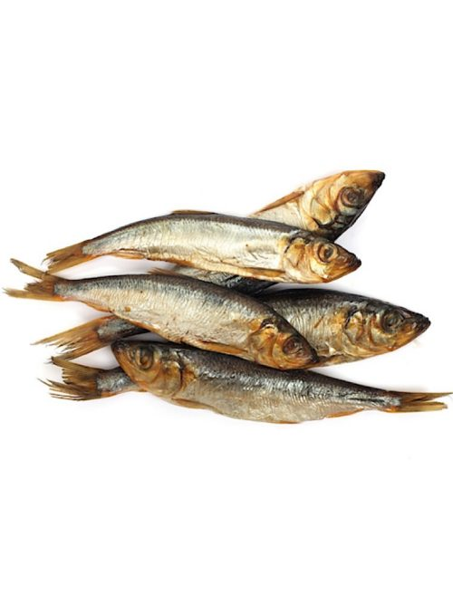 Photograph of 5 dried sardines on top on each other on a white background