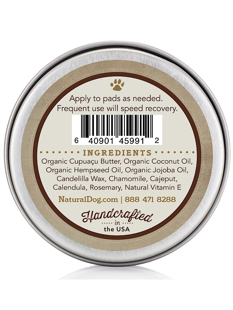 Photograph of a small silver tin with organic paw soother 4oz balm with ingredients