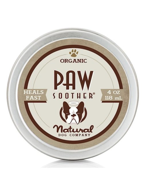 Photograph of a small silver tin with organic paw soother 4oz balm