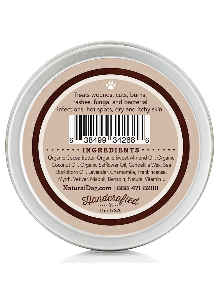 Photograph of a small silver tin with organic skin soother 4oz balm with ingredients