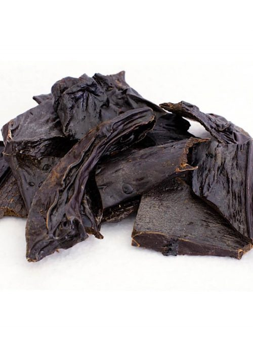 Photograph of a small amount of black dried beef liver dog treats