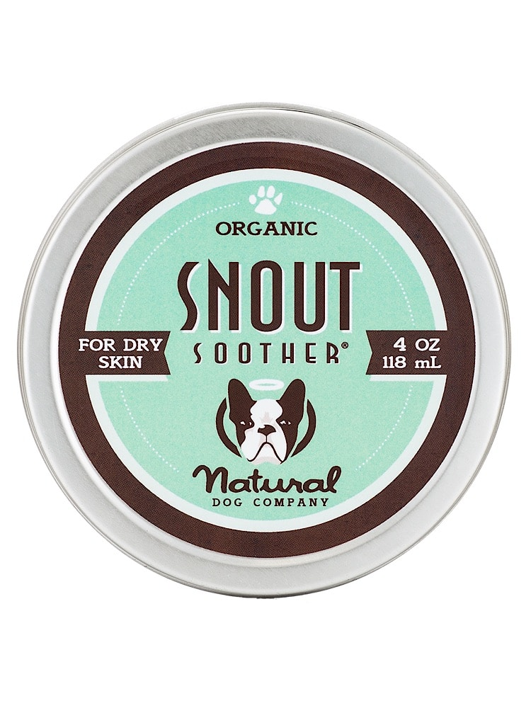 Photograph of a small silver tin with organic snout soother 4oz balm