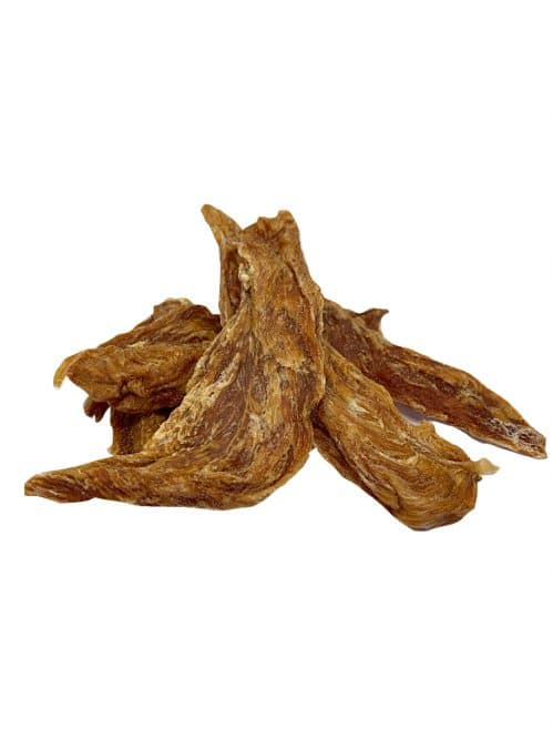 Drool pet Co Chicken jerky. Photograph of dehydrated Australian chicken breast on a white background.