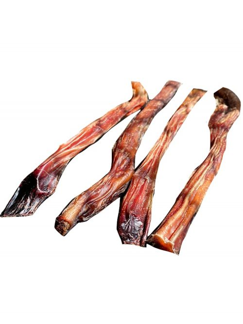 Photograph of four dehydrated bully sticks nec t to each other on a white background.