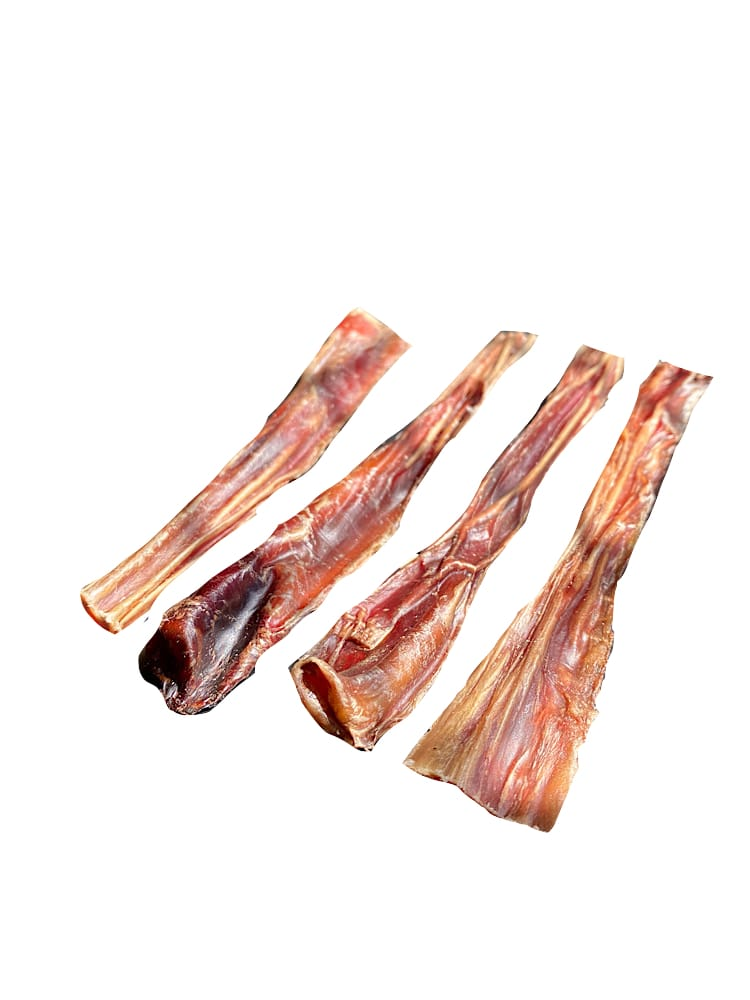 Photograph of four small bully sticks stacked on top of each other, on a white background.