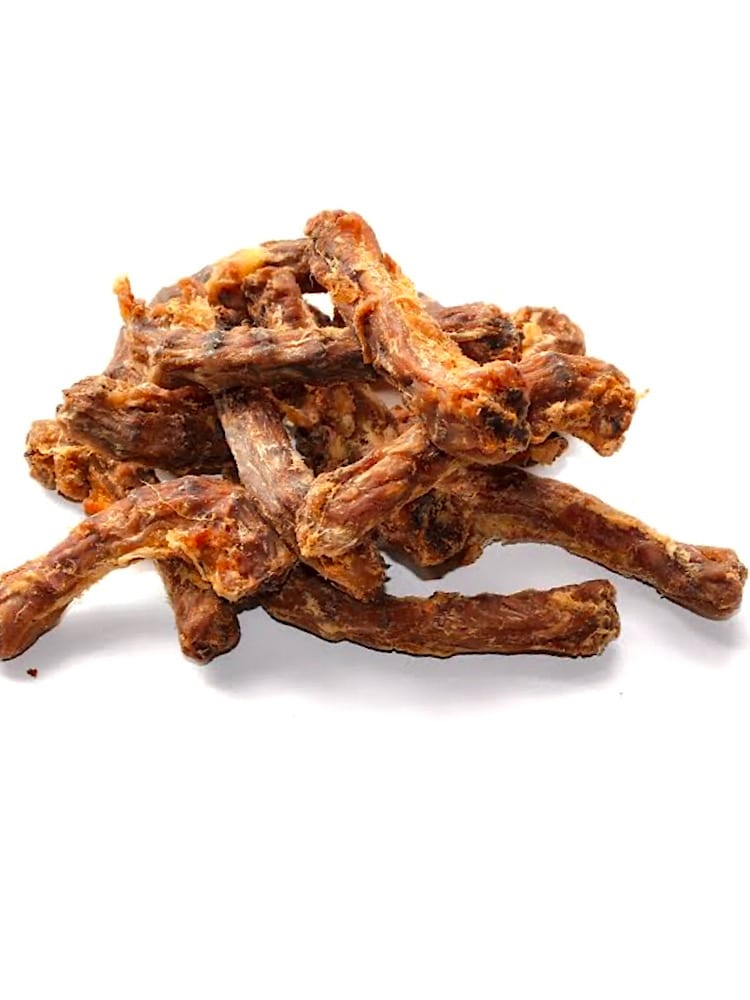Photograph of 10 dried Drool Pet Co. Chicken Necks on a white background.