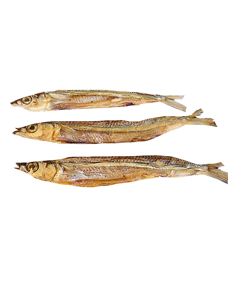 Drool Pet Co. dog treats photograph of dried Garfish on a white background.