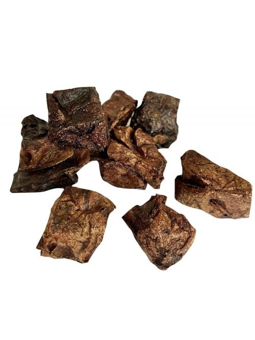 Photograph of a Drool Pet Co. dehydrated Kangaroo Lung Puff Cubes on a white background.