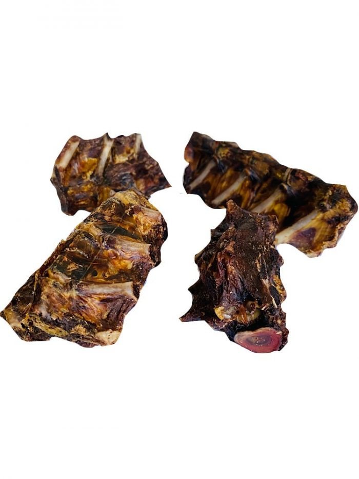 dehydrated kangaroo tail chunks on a white background
