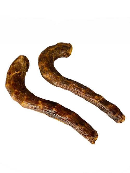 Photograph of two dehydrated Goose Necks, on a white background.