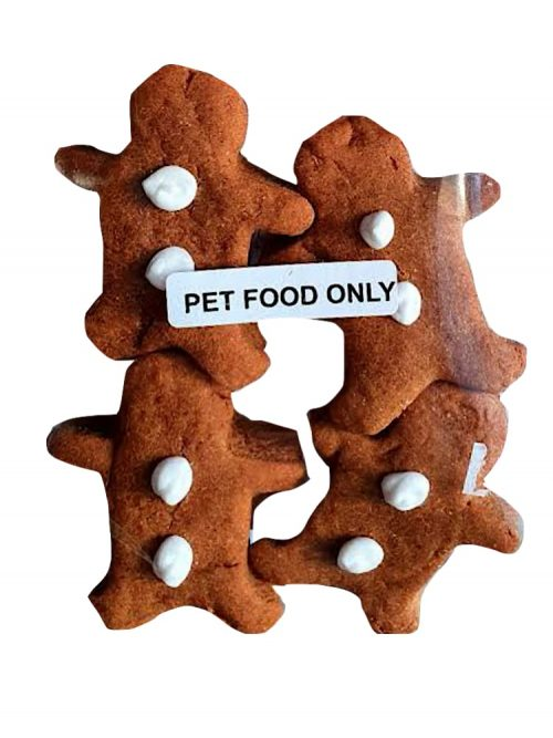 Photograph of four Drool Pet Co.gingerbread biscuits on a white background.