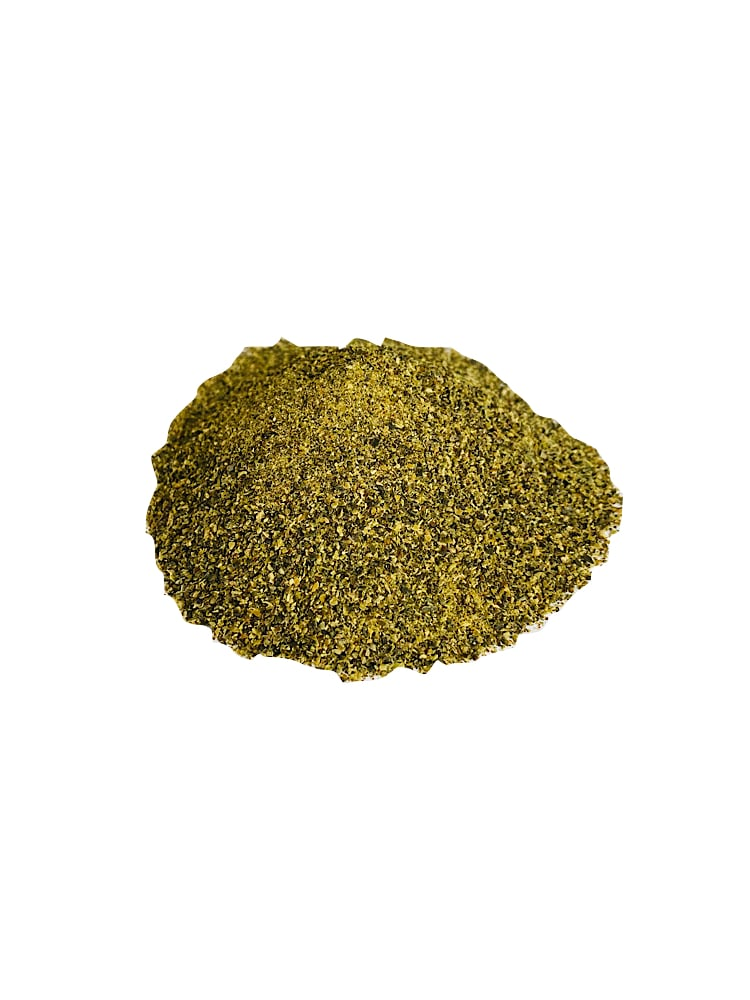 Drool pet Co. Seaweed meal Topper Photograph of a pile of seaweed meal on a white background.
